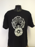 Shere Khan Sound T-Shirt w/ Tiger Holding Dubplate - BLACK / White Print (Various Sizes)